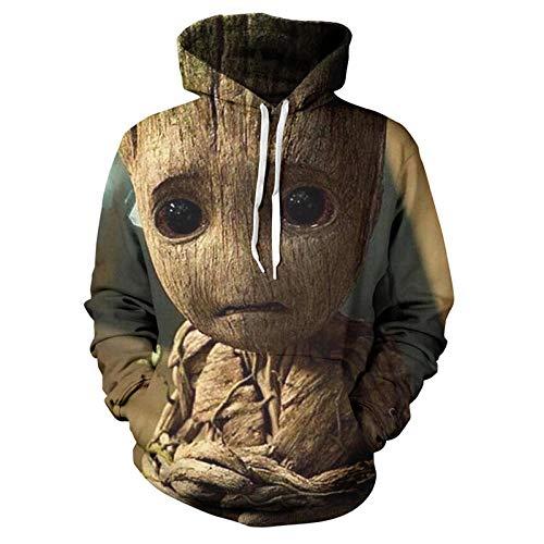 hjbjb Galaxy Guardian Groot Felpa con Cappuccio Stampa 3D Divertente Felpa con Cappuccio Abbigliamento Hip Hop Pullover Boy Streetwear-005_XS