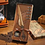 11 Colors 25-30cm Calligraphy Pen for Beginners Dip Pen Feather Pen Gift Box Retro Goose Feather...