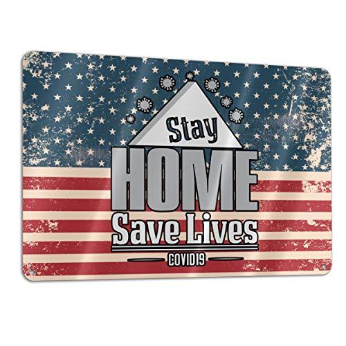 Stay at Home Stop Coronavirus Covid-19 (20) Aluminum Metal Sign 12x8 Inch