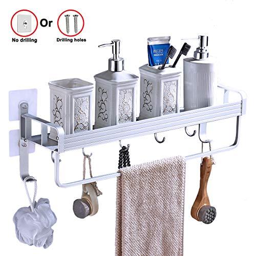 Yeegout mensola bagno no viti con portasciugamani e ganci, Alluminio ispessimento Adesivo Montaggio a parete mensola per doccia per cucina (1 livello)