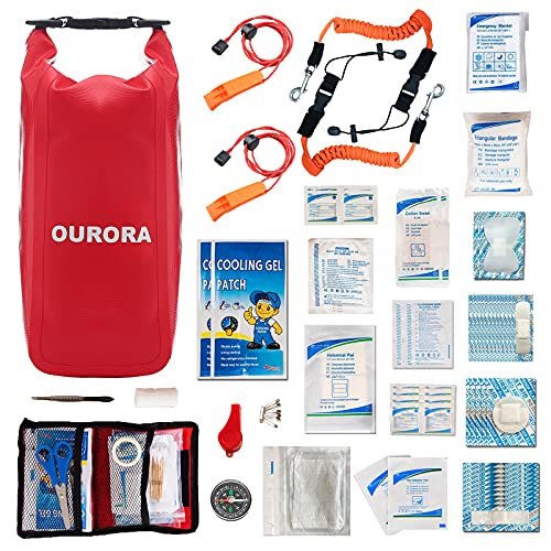 OURORA Waterproof First Aid Kit, Kayak Accessories with 2 Paddle Leash, Boat Medical Kit, Emergency...