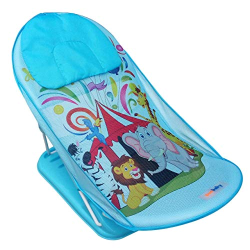 Sunbaby Baby Bath Support seat for New born babies for bathing,Inclined baby bather cum bath sling w/ Soft mesh support for Comfortable bath/shower,can fit adult bath tub, best for newborn/infant. (CIRCUS FUN)