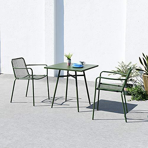 VBARV Ensemble de Table et chaises d'extérieur en métal 3 pièces, Ensemble de Bistro de Patio, avec Cadres en Fer forgé antirouille, Plateau de Table en Acier au Carbone, pour Jardin, Piscine