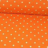Beschichteter Baumwollstoff orange Tupfen weiß