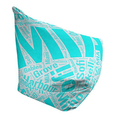 Best Review Of ArtVerse Rand Cites Miami, Florida Districts Word Art-Cyan Bean Bag Cover w/Inner She...