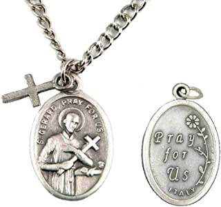 St. Gerard Patron Saint of Expecting Mothers Oval Pendant Necklace with Cross TVT-621-1