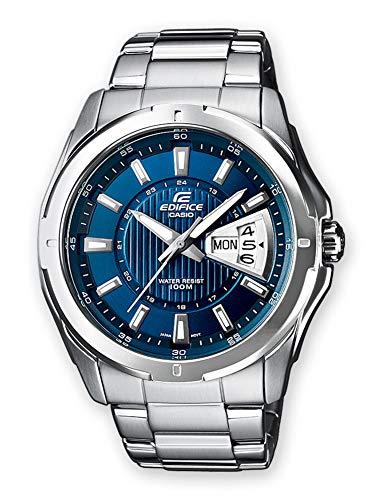 Casio EDIFICE Reloj en caja sólida, 10 BAR, Azul, para Hombre, con Correa de Acero inoxidable, EF-129D-2AVEF