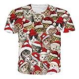 RAISEVERN Unisex Neuheit 3D Ugly Kitty Print T-Shirt Lustige Weihnachten Kurzarmshirts mit...