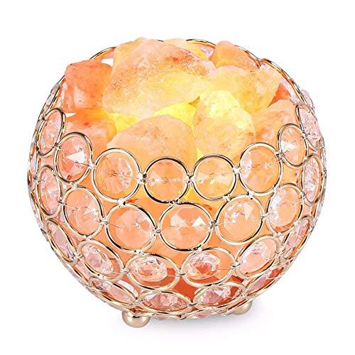 Zoutlamp van smeedijzer, ronde tafellamp van zoutkristal met anionische diamant van roestvrij staal, nachtlampje