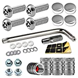 Anti Theft License Plate Screws- Security Screws with Chrome Caps for Fastening Front / Rear Car Tag Frame Holder, Stainless Steel Plate Mounting Hardware Kit- M6(1/4