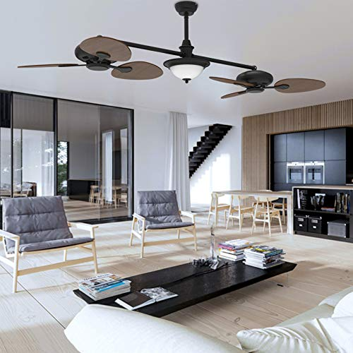 """reiga 86"""" Oil-rubbed Bronze Quiet Motor Dual Ceiling Fan with LED Light Kit Remote Control, 3-speed, Dimming and Color Temperature Adjustment, Manually Increase Angle"""