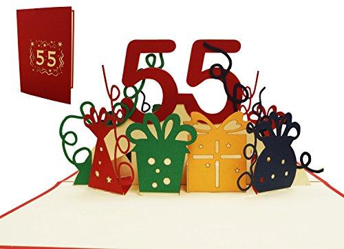 LIN17370, pop-up kaart 55, POP UP kaarten verjaardag, pop-up verjaardagskaart, verjaardagskaart 55. verjaardag, jubileum 55 jaar, rood, N244