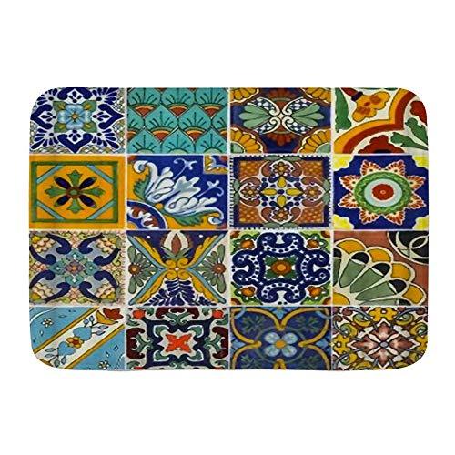 N\A Alfombra de baño Alfombra Antideslizante, Azulejos Mexicanos Cortados en Papel, Microfibra Alfombras de baño Modernas Alfombra de baño Suave