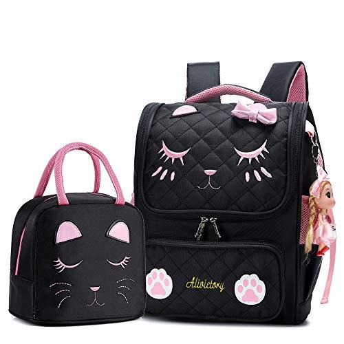 Borsa per la scuola primaria, set di contenitori per il pranzo per studenti, zaino, borsa a zaino, con motivo gatto, per bambine, 2 pezzi (Nero, L)