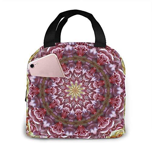 Bolsas de almuerzo con diseño de caleidoscopio mixto de rosas para mujeres, caja de almuerzo con aislamiento portátil, bolsa refrigeradora, bolsa de bento para viajes/picnic/trabajo