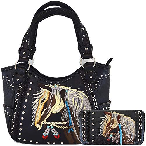 Tooled Leder-Geldbörse, lasergeschnitten, versteckte Geldbörse, Pferd, Country, Western-Cowgirl-Handtaschen, Schultertaschen, Geldbörsen-Set, (#2 Schwarz Set), Large