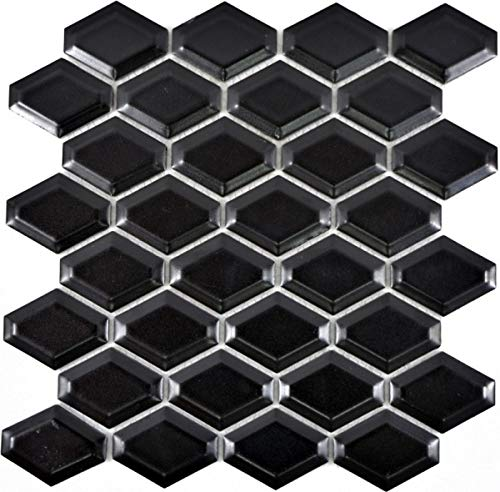 Mozaïek tegel keramiek diamant metro zwart mat tegelspiegel keuken MOS13MD-0311_f | 10 mozaïekmatten