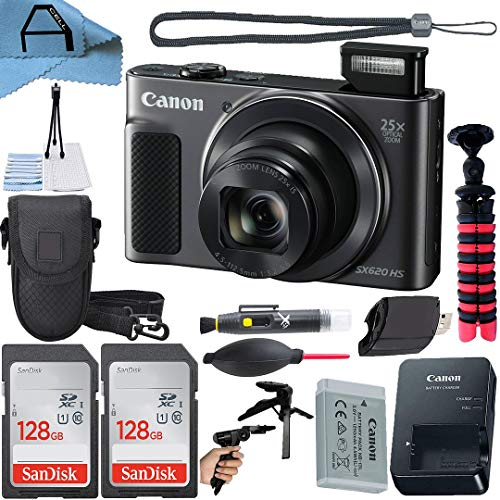 Canon PowerShot SX620 HS Digital Camera 20.2MP Sensor with 2 Pack SanDisk 128GB Memory Card, Case, Tripod and A-Cell Accessory Bundle (Black)