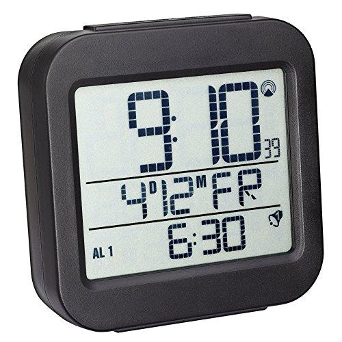 TFA Dostmann Digitaler Funk-Wecker mit Temperatur, Kunststoff, schwarz, L95 x B45 x H126 mm