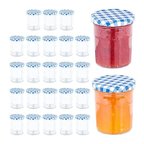 Relaxdays Juego de 25 tarros herméticos Mermelada, 250 ml, Bote de Cristal Azul, 25er Set