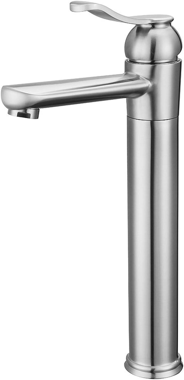 YOHOM Hochwasserhahn, Edelstahl-Wasserhahn, Mischbatterie mit Schwenkbereich 360° und Einhebel, Waschbecken Amatur Bad für Badezimmer und Toilette, gebürstete Oberflchenbehandlung