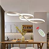 Modern Pendant Lighting White LED Pendant Light for Contemporary Living Dining Room Kitchen Island Dimmable Chandelier Dimming Ceiling Lamp Minimalist Wave Hanging Light Fixture with Remote (White)