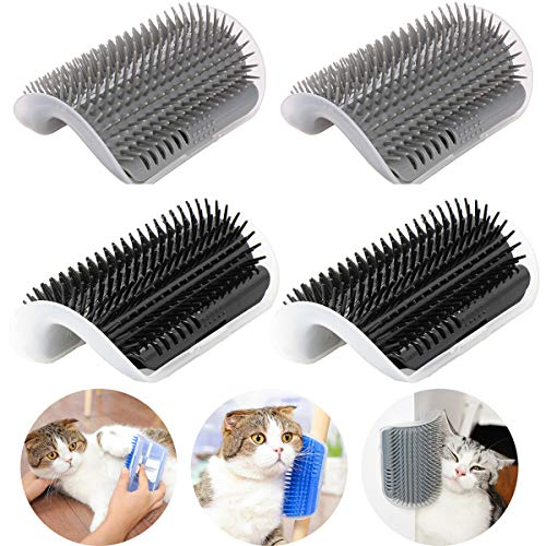 4 Pack Cat Self Groomer with Catnip Pouch,Cats Corner Massage Comb Grooming Brush Tool for Kitten Puppy (2 Black/2 Grey)
