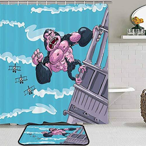 ParadiseDecor Cartoon Decor Christmas Shower Curtains and Rug Set King Kong Hanging on a Building Fantasy Fiction Gorilla Children Illustration Carpet Chair mat Blue Mauve