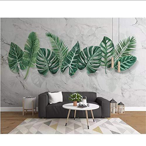MRQXDP Benutzerdefinierte Foto moderne 3D Marmorierung handbemalte Pflanzenblätter Wohnzimmer Hintergrund Wandmalerei Tapeten papel de parede