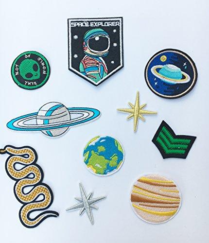 Beyond Patch Aufnäher Schlange Erde Stern Alien Astronaut und Planeten Patches 10 Stück Set