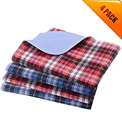 Size: 24x36 inches, suit for puppy and small breed dogs. Material: 75% Polyester/15% Viskose/10% Polyurethan, machine washable and reusable, unscented. No Ironing/ No Dry Cleaning/ No Bleach 2 red and 2 blue. Plaid design, classical and Rotatable, an...
