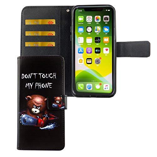 König Design Handyhülle Kompatibel mit Apple iPhone 11 Handytasche Schutzhülle Tasche Flip Hülle mit Kreditkartenfächern - Don't Touch My Phone Bär mit Kettensäge