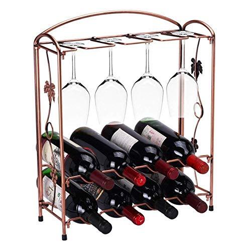 Estante de vino, perchero de vino retro europeo, soporte de taza de vino plegable de pinza de vino de hierro forjado, soporte de exhibición de vino de estante de almacenamiento, adecuado para cocina d