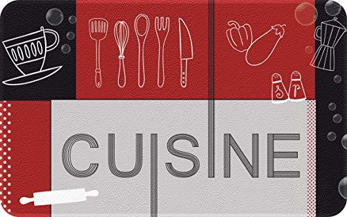 ID Mat Decor Cuisine Rouge Noir, Fibres Synthétiques, Gris, 50 x 80