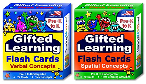 TestingMom.com Gifted Learning Flash Cards (2-Pack) – Verbal and Spatial Concepts for Pre-K - Kindergarten – Practice for CogAT Test, Iowa Test, NNAT Test, OLSAT, NYC Gifted and Talented, WPPSI, AABL