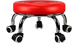 HM&DX Round Footstool with Wheels,Faux Leather Upholstered Footrest Stool Seat Sofa Small Stool,Movable Flower Stand -red L