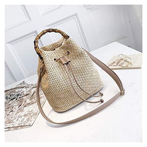 Cvthfyky Womens Straw Bucket Bag Summer Woven Shoulder Bags Shopping Purse Beach Handbag Straw Handbags Travel Bag (Color : Brown, Size : 18cm)