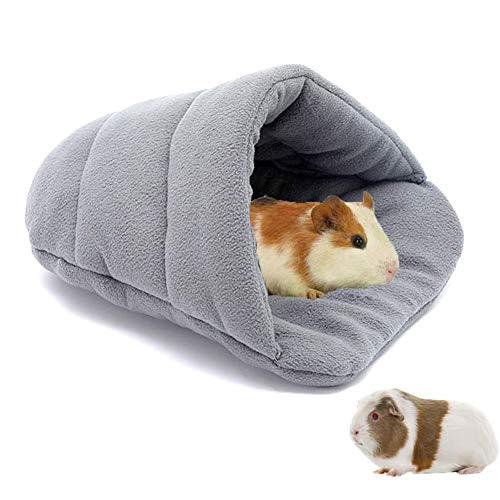 Zacht warm caviabed, zacht fleece caviabed, dik fleece klein huisdiernest gezellige schuilplaats kussen, hamster bed grot slaapzak, voor chinchilla egel fret eekhoorn (38x28cm, lichtgrijs)