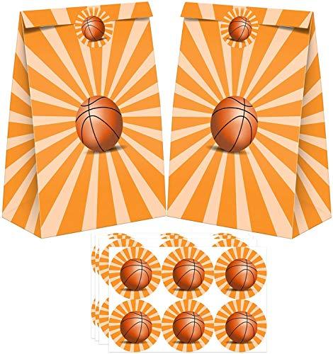 Paquete de 24 bolsas de favores para favores con pegatinas, artículos de regalo, regalo para baloncesto