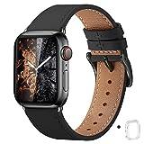 WFEAGL コンパチブル Apple Watch バンド,は本革レザーを使い、iWatch SE、 Series 6/5/4/3/2/1、Sport、Edition向けのバンド交換ストラップです コンパチブル アップルウォッチ バンド(42mm 44mm ,黒 バンド+黒 四角い バックル)
