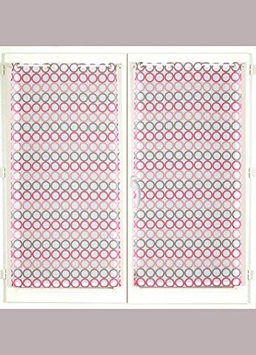 HomeMaison Cercles Colorés Paire de Vitrages Rayures, Polyester, Fuchsia, 120x60 cm
