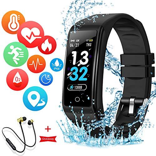 Smartwatch Orologio Intelligente Fitness Tracker Uomo Donna Cardiofrequenzimetro per Monitor da Polso Contapassi Sportivo Activity Tracker Cuffie Bluetooth Sport per iPhone/Xiaomi/Samsung (nero)
