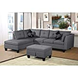 Sofa Set for Living Room with Chaise Lounge and Storage Ottoman Living Room Furniture,(Gray)