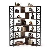 Tribesigns 6-Shelf Corner Bookcase, Vintage Industrial Corner Bookshelf Etagere Bookcase, 6 Tier Corner Shelf Storage Rack with Metal Frame for Living Room Home Office (Rustic Brown)