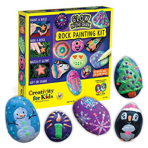 Creativity for Kids Glow In The Dark Rock Painting Kit - Paint 10 Rocks with Water Resistant Glow...