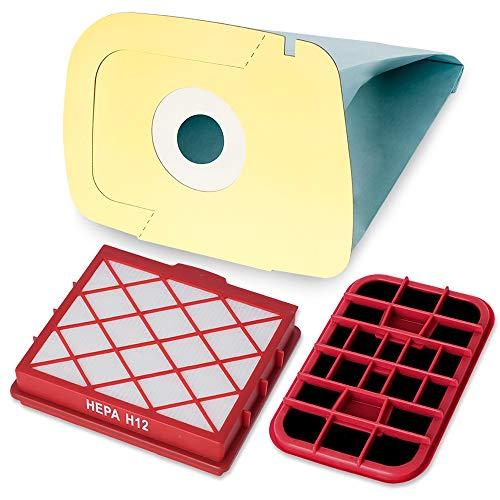 10 Premium Staubsaugerbeutel inkl. Hepafilter H12 und Motorschutzfilter - Hygienisches Synthetikmaterial - Perfekt angepasst für Lux D820 - Bestleistung beim Saugen