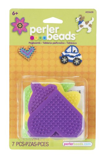 Perler Beads Multicolored Dog, Daisy, Dolphin, Car and Heart Pegboards, 7pc
