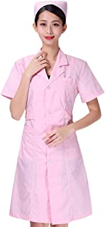 KESYOO Lab Coat Nurse Doctor Work Clothes Protective Overall Working Uniforms Scrubs For Pharmacy Beautician Nurse(Size S)