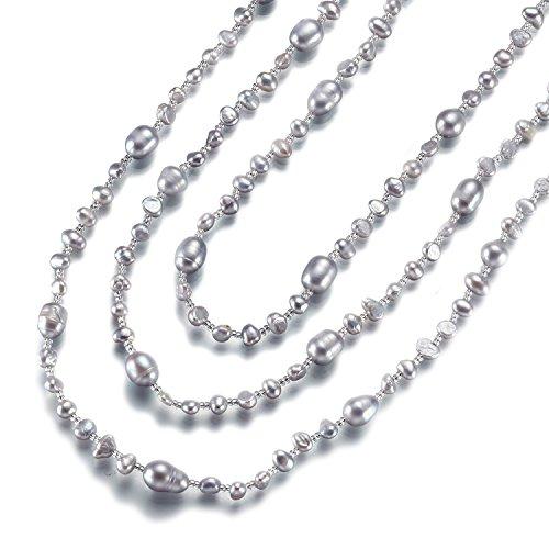 Strength そろそろ本物志向 淡水パール ネックレス (160cm, 3連 ) 淡水 真珠 首飾り パール アクセサリー レディース (パールグレー 3連OK)