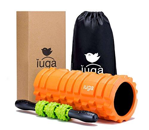IUGA フォームローラー 筋膜リリースローラー マッサージローラー付き トリガーポイントマッサージ、筋膜リ...